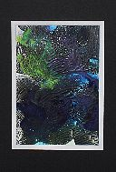 Original Modern Abstract, Alcohol Ink 'Fusion' Art 'Coral Kelp and Tubers' in light blue/dark blue/black mirror image.     8x10     Materials: Alcohol ink, alcohol, Yupo paper.  Black mat, in a clear presentation sleeve.     $25.00