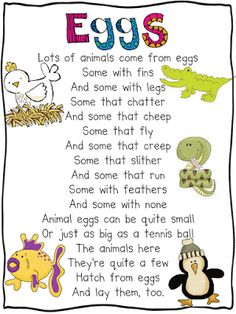 Oviparous Animals Poem - Great lesson idea on this website that includes a mentor text, writing prompt, and craftivity. Love the science journal idea! Kindergarten Poems, Preschool Songs, Preschool Science, Science Classroom, Teaching Science, Preschool Ideas, Science Poems, Kindergarten Units, Teaching Time