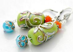 Summer Green Earrings, Aqua and Orange, Lampwork Beads, Scrolls. $39.00, via Etsy.