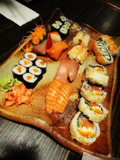 Sushi-- Maki Salmon Sushi, Avacado Roll, Spider Roll, California Roll, Funky Roll, Philly Roll. My favorites!