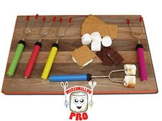 Marshmallow Pro - Marshmallow Roasting Sticks - Set of 5 Telescopic Extendable Roasting Sticks/Skewers With Zippered Travel Bag Bbq Skewers, Shish Kabobs, Marshmallow Roasting Sticks, Fire Pit Accessories, Skewer Recipes, The Chew, Bbq Tools, Cooking Tools, Outdoor Cooking