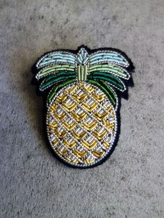 Hand Embroidered Pineapple Brooch by Macon & Lesquoy