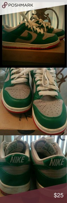 Womens Nike Dunk Low Green, grey and red dunk lows. Nike Shoes Athletic Shoes