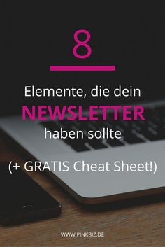Newsletter schreiben ist gar nicht so schwer. Diese 8 Elemente sollte dein Newsl… Writing a newsletter is not that difficult. These 8 elements should definitely have your newsletter to be opened, read and clicked. E-mail Marketing, Affiliate Marketing, Email Marketing Strategy, Business Marketing, Content Marketing, Social Media Marketing, Personal Branding, Home Based Business, Online Business