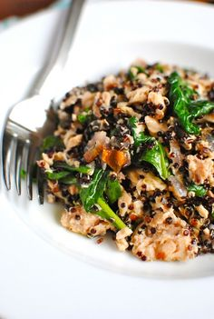 Alaskan Salmon with Black Quinoa and Spinach:::  What it took for 2:    * 1 cup black quinoa  * 1 can Alaskan Pink Salmon, drained  * 1/2 red onion, diced  * 1 cayenne chili, minced  * 4 cups baby spinach  * juice from half a lemon  * 2 Tbs. extra-virgin olive oil  * pinch of coarse salt  * pinch of freshly ground pepper
