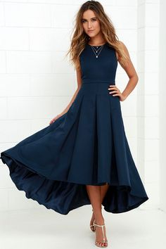 Ladies this is on Lulu's and is backless! Paso Doble Take Navy Blue High-Low Dress at Lulus.com!