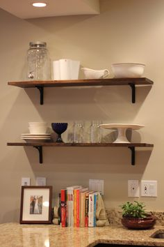 open shelves in the kitchen.