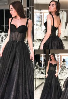 Unique Prom Dresses, Modest A-Line Straps Long Prom Dress Sleeveless Black Evening Dress, There are long prom gowns and knee-length 2020 prom dresses in this collection that create an elegant and glamorous look Long Prom Gowns, Dresses Short, Modest Dresses, Homecoming Dresses, Formal Dresses, Wedding Dresses, Black Evening Dresses, Black Prom, Popular Dresses