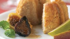 Mini Ginger Pear Cakes with Warm Figs and Pears in Brandied Honey