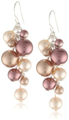 Colored Simulated Pearl Cluster Drop Earrings -