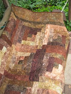 Log Cabin Lap Quilt  Chocolate Truffle Batik by QuiltsintheCity, $195.00