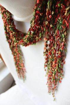Autumn Colors Fringed Scarf ~ Hand Knit Ladder Yarn ~ Ribbon Yarn~ Accent Scarf ~ Made in the USA