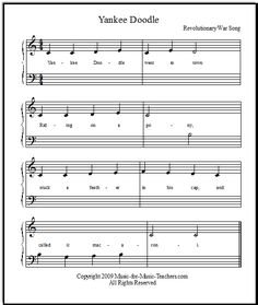 Yankee Doodle easy piano music for beginners, FREE! Download this fun song for your young piano players.