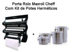 Porta Rolo MaxRoll com Conjunto de pote inox 4 peças