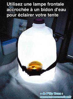 Pour faire une lumière d'ambiance bien répartie sous la tente, il existe une astuce toute simple.   Découvrez l'astuce ici : http://www.comment-economiser.fr/comment-eclairer-une-tente.html
