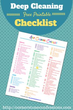Get clean this spring or anytime with this colorful deep cleaning checklist for free covering everything from the bedrooms to the garage.
