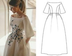 ideas sewing inspiration women simple for 2019 Event Dresses, Prom Dresses, Summer Dresses, Dress Sewing Patterns, Clothing Patterns, Hijab Fashion, Fashion Dresses, Engagement Dresses, Embroidery Dress