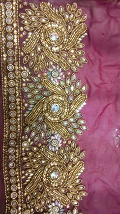 Hand Embroidery Designs, Beaded Embroidery, Embroidery Stitches, Maggam Work Designs, Sari Design, Saree Border, Saree Blouse Patterns, Fancy Blouse Designs, Fabric Beads