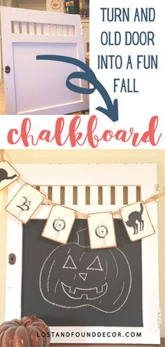 Step by step tutorial for how to make a fun fall chalkboard out of an old door. #diy #craftproject #falldecor Craft Projects For Adults, Diy Projects, Chalk Paint Brands, Autumn Inspired Recipes, Vintage Fall Decor, Fall Chalkboard, Plaster Paint, Furniture Wax, Paint Cans