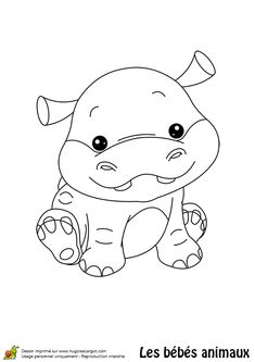 Coloriage B Hippopotame Bebe Cute Coloring Pages, Colouring Pics, Animal Coloring Pages, Coloring Pages For Kids, Coloring Books, Sock Animals, Baby Animals, Baby Hippo, Animal Activities