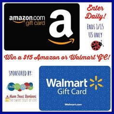 #Win a $15 Amazon or Walmart Gift Card! - ends 1/15 - US Only