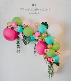 DIY Floral Balloon Arch - would want silver, gold and purple