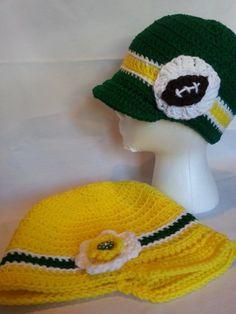 GO Ducks! Oregon Duck Crochet Hat Green or Yellow - Women's, Men's, Adult Bill Hat Beanie Football