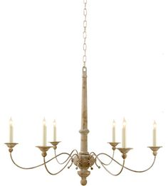 Visual Comfort S5212BW Studio Country 6 Light 41 inch Belgian White Chandelier Ceiling Light photo