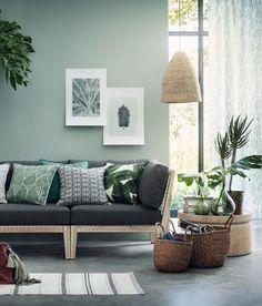 Kissenhülle mit Blattmuster | Naturweiß/Dunkelgrün | Home | H&M DE