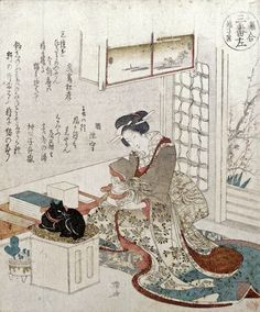 A Girl With Two Cats by Ryuryukyo Shinsai from Private Collection