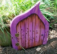 11 3/4 inches OPENING Purple Ivy Magic Portal...Fairy, Faerie, Gnome, Hobbit, Elf Magical Door...OPENS