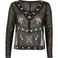 I'm shopping Black embroidered mesh top in the River Island iPhone app.