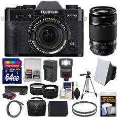 Fujifilm X-T10 Digital Camera & 18-55mm XF (Black) with 50-200mm Lens + 64GB Card + Battery/Charger + Case + Tripod + Flash + 2 Lens Kit. KIT INCLUDES 17 PRODUCTS -- All BRAND NEW Items with all Manufacturer-supplied Accessories + Full USA Warranties:. [1] Fujifilm X-T10 Digital Camera & 18-55mm XF Lens (Black) + [2] Fujifilm 55-200mm XF R Lens + [3] Transcend 64GB SDXC 300x Card + [4] Spare NP-W126 Battery +. [5] Charger for Fuji NP-W126 + [6] Vivitar 58mm UV Glass Filter + [7] Vivitar…