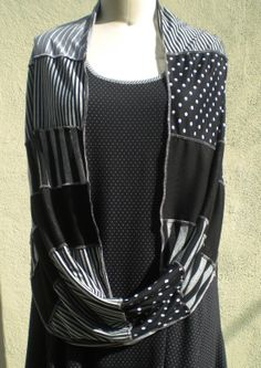 Infinity Shawl, Shrug, Scarf in Mixed Knit Stripes, Dots, & Textures by r.Browning