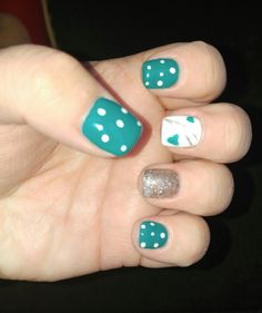 Fun turquoise, silver sparkle and white polka dot nails. Happy little nails #nailart #turquoise #polkadots #hearts