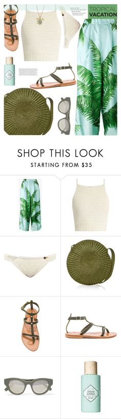 """""""Welcome to Paradise: Tropical Vacation"""" by joliedy ❤ liked on Polyvore featuring F.R.S For Restless Sleepers, SHE MADE ME, Samuji, K. Jacques, Elizabeth and James, Benefit and Betsey Johnson"""
