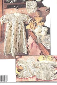 Gorgeous Long Short Shell Christening Baby Gown Bonnet Booties Crochet Pattern | eBay
