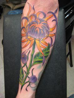 purple and yellow Chrysanthemum Flower Tattoos | flower tattoo on forearm