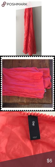 GAP Coral cotton scarf Cotton And Silk Scarf, Coral, Pom Pom Edging Detail.  Perfect for Fall!  Smoke free household in great condition GAP Accessories Scarves & Wraps