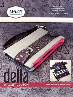 The Della Wallet Clutch is an ideal accessory, she's easy to sew and practical enough to use daily. This wallet features 8 credit card slots, 2 bill or check slots, and 2 zippered pockets large enough to zip your phone into one and your change in the other.