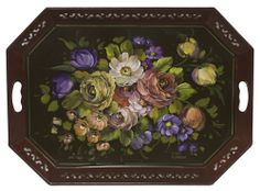 Napoleon III Roses on Metal Tray. The roses that inspired American Tole Roses. Downloadable painting lesson(http://www.jansenartstore.com/p5005d-napoleon-iii-roses-vol-1-download/)