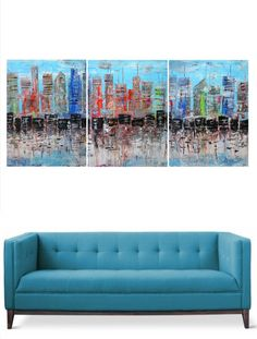 Abstract painting  Triptych  Serie of three  by AlexSenchenko, £169.00