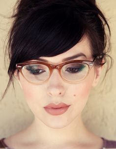 Smashbox lipstick in Latte Matte. LOVE those glasses too!