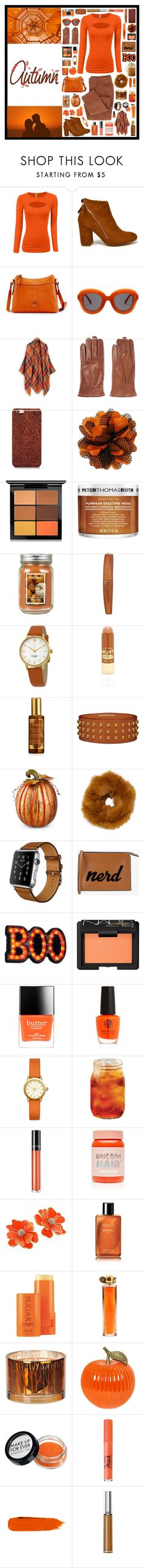 """""""autumn"""" by tiny-girl-big-heart ❤ liked on Polyvore featuring Hermès, Dooney & Bourke, Sandro, MAC Cosmetics, Peter Thomas Roth, Holiday Memories, Rimmel, Kate Spade, LunatiCK Cosmetic Labs and By Terry"""