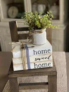 Home Sweet Home Farmhouse Books Stamped Books Book Stack Etsy Farmhouse Books, Farmhouse Chairs, Farmhouse Bedroom Decor, Country Farmhouse Decor, Farmhouse Style Kitchen, Modern Farmhouse Kitchens, Rustic Books, Wooden Books, Primitive Country