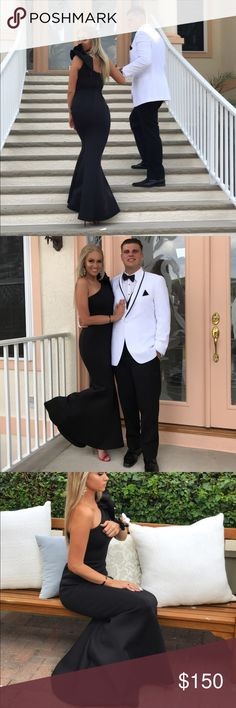 Jovani black prom dress Worn once for my senior prom. Says size 2 on tag, but fits like a size 6. All my other dresses I've bought are a size 6. It is stretchy, could fit a size 4 as well. No modifications have been done to dress. Feel free to ask questions. Jovani Dresses Prom