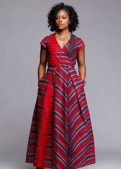 Hadiya African Print Faux Wrap Maxi Dress (Red/Grey)- Clearance at Diyanu African Formal Dress, African Maxi Dresses, African Traditional Dresses, African Attire, Formal Dresses, African Inspired Fashion, African Print Fashion, Ankara Fashion, African Prints