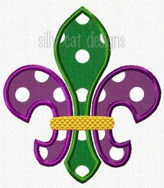 Mardi Gras Fleur De Lis Applique Design by SillyCatDesigns on Etsy, $3.50