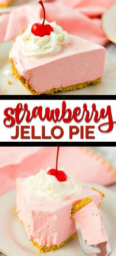 Jello pie comforting delicious and easy to make. This pink Strawberry pie with Jello is the perfect low-fuss dessert. It boasts a fresh flavor with an easy filling nestled in a graham cracker crust. Jello Desserts, Jello Recipes, Easy Cheesecake Recipes, Pumpkin Cheesecake, Easy Desserts, Dessert Recipes, Coolwhip Recipes, Recipies, Dessert Parfait