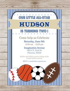 Printable Sports Birthday Party Invitation